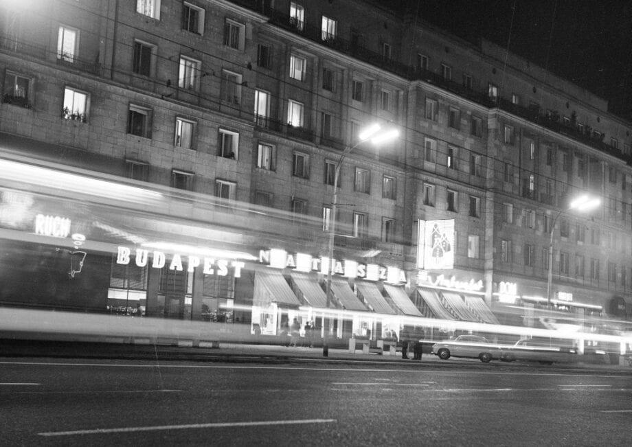 """Warszawa, Aleje Jerozolimskie (Cykl """"Warszawa nocą"""") (POCZTÓWKA)"""